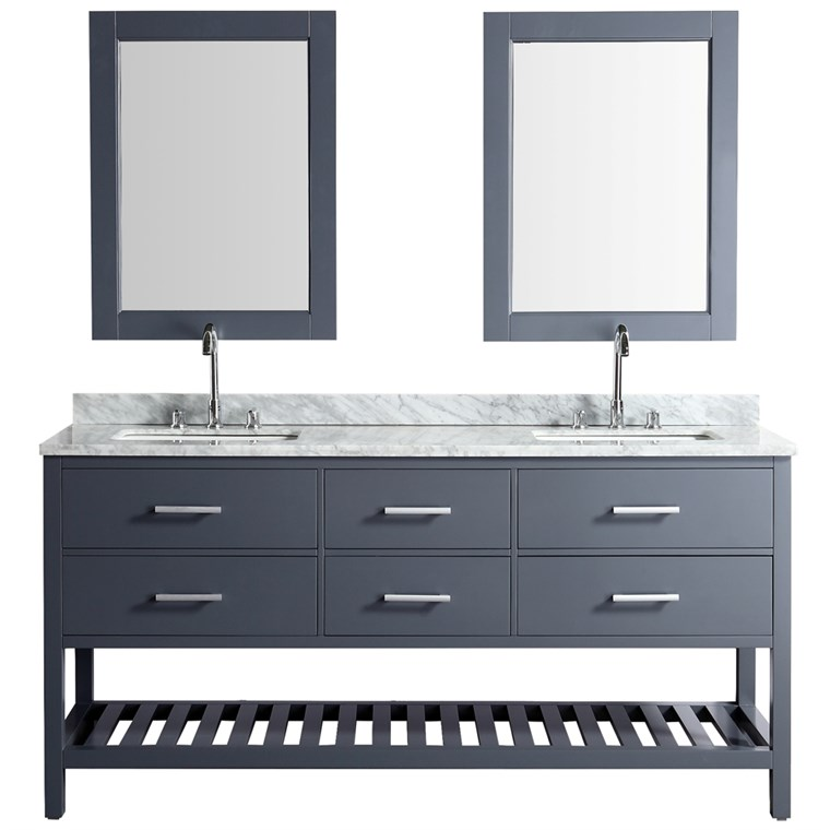 "Design Element London Cambridge 72"" Double Sink Vanity Set - Gray DEC077B-G"