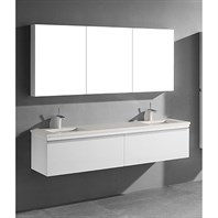 "Madeli Venasca 72"" Double Bathroom Vanity for Quartzstone Top - Glossy White B990-72D-002-GW-QUARTZ"