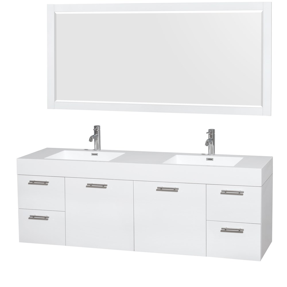 "Amare 72"" Wall-Mounted Double Bathroom Vanity Set with Integrated Sinks by Wyndham Collection - Glossy White WC-R4100-72-VAN-WHT--"