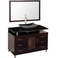 "Accara 48"" Bathroom Vanity with Drawers - Espresso w/ Black Granite Counter and Sink B706D-48-ESP-BLK"