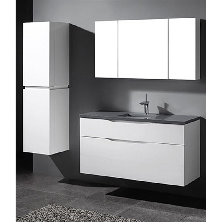 "Madeli Bolano 48"" Single Bathroom Vanity for Quartzstone Top - Glossy White B100-48C-022-GW-QUARTZ"