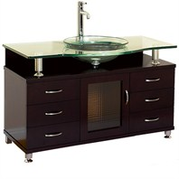 "Charlton 55"" Bathroom Vanity with Drawers - Espresso w/ Clear or Frosted Glass Counter"