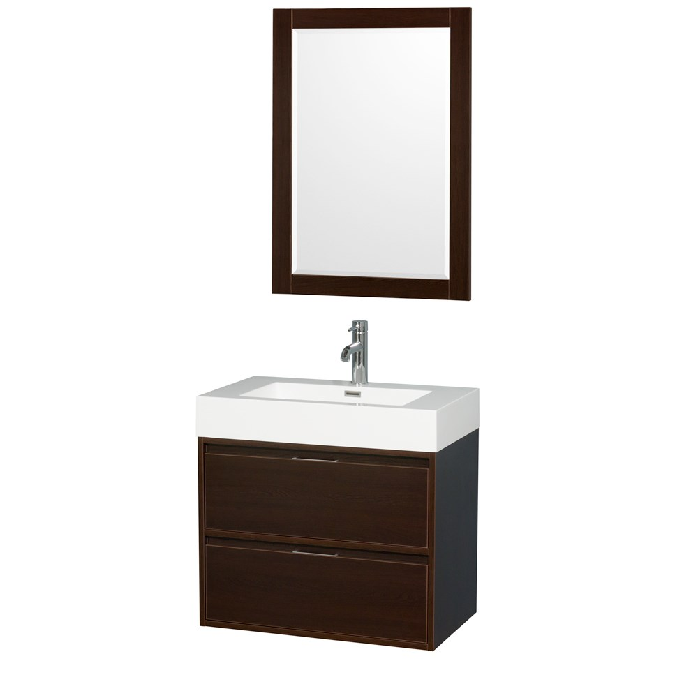 "Daniella 30"" Wall-Mounted Bathroom Vanity Set With Acrylic Resin Countertop, Integrated Sink and 24"" Mirror - Espresso WCR460030SESARINTM24"