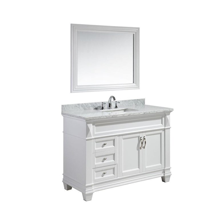 "Design Element Hudson 48"" Single Sink Vanity Set with White Carrara Marble Top - White DEC059B-W-W"