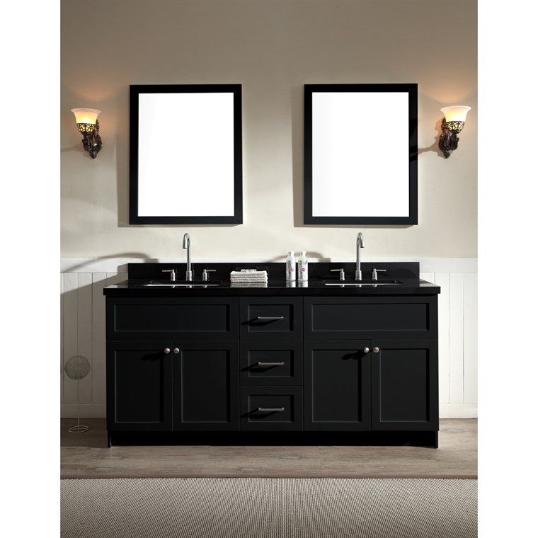 "Ariel Hamlet 73"" Double Sink Vanity Set with Absolute Black Granite Countertop in Black F073D-AB-BLK"