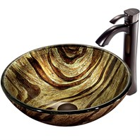 VIGO Zebra Glass Vessel Sink and Faucet Set in Oil Rubbed Bronze VGT193