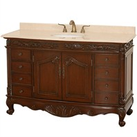 "Stanton 56"" Antique Bathroom Vanity - Dark Cherry w/ Ivory Marble Counter"