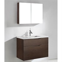 "Madeli Bolano 36"" Bathroom Vanity for Quartzstone Top - Walnut B100-36-022-WA-QUARTZ"
