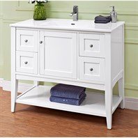"Fairmont Designs Shaker Americana 42"" Vanity - Open Shelf For Integrated Top - Polar White 1512-VH42-"