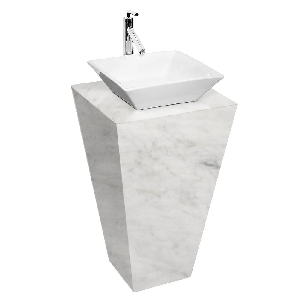 Esprit Bathroom Pedestal Vanity in White Carrara Marble
