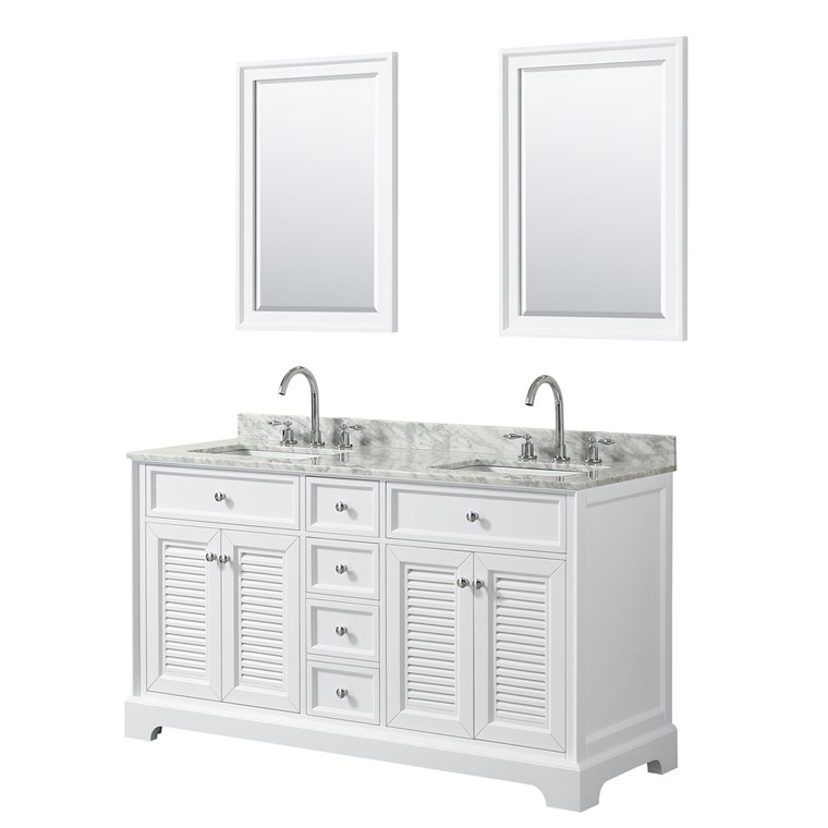 "Tamara 60"" Double Bathroom Vanity by Wyndham Collection - White WC-2121-60-DBL-VAN-WHT"