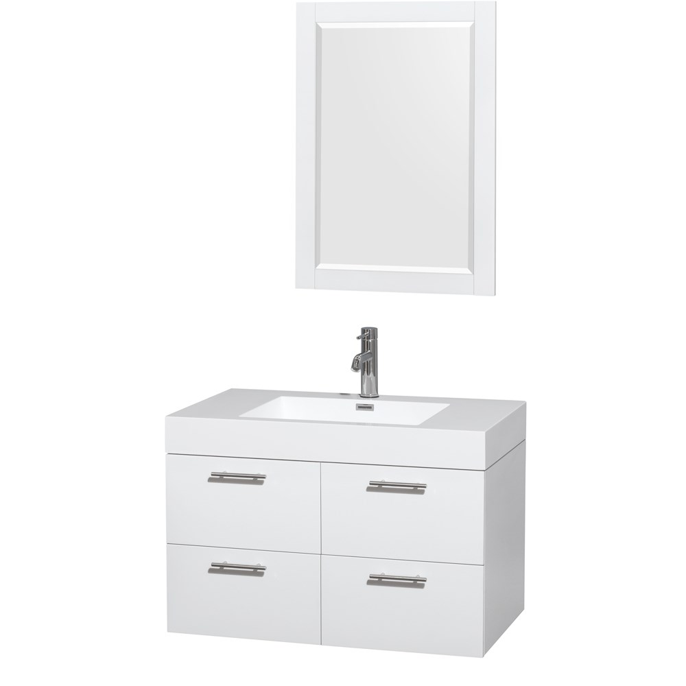 "Amare 36"" Single Bathroom Vanity in Glossy White, Acrylic Resin Countertop, Integrated Sink, and 24"" Mirror WCR410036SGWARINTM24"
