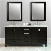 "Stufurhome 72"" Lissa Double Sink Vanity with Carrara White Marble Top GM-6412-72-CR"