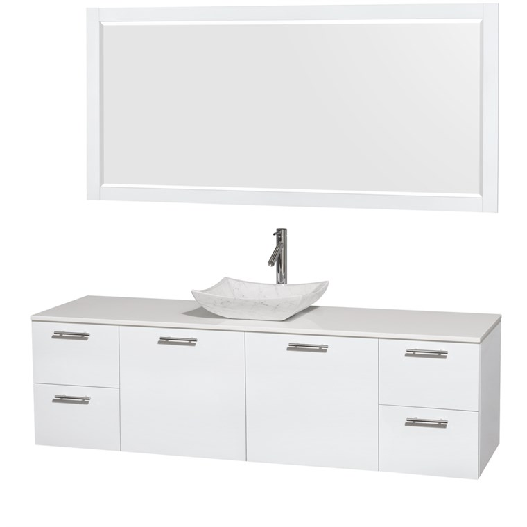 "Amare 72"" Wall-Mounted Single Bathroom Vanity Set with Vessel Sink by Wyndham Collection - Glossy White WC-R4100-72-WHT-SGL"