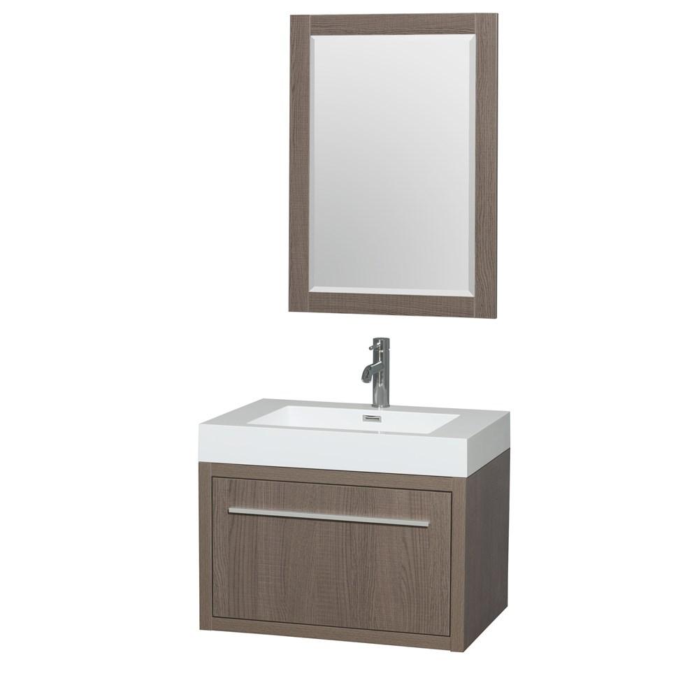 "Axa 30"" Wall-Mounted Bathroom Vanity Set With Integrated Sink by Wyndham Collection - Gray Oaknohtin Sale $899.00 SKU: WC-R4300-30-VAN-GRO :"