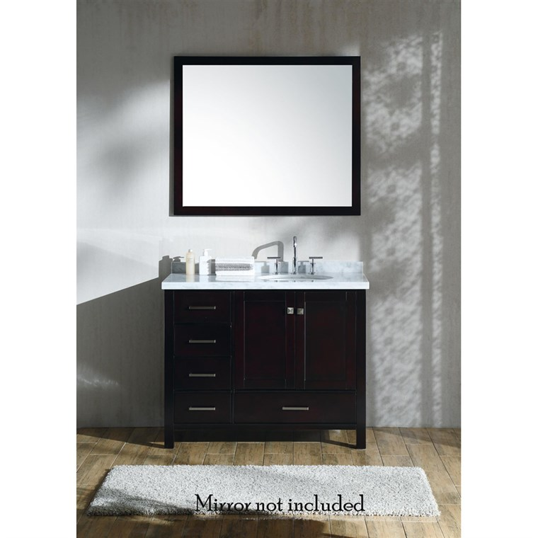 "Ariel Cambridge 43"" Single Sink Vanity with Right Offset Sink and Carrara White Marble Countertop - Espresso A043S-R-VO-ESP"