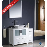 "Fresca Torino 42"" White Modern Bathroom Vanity with Side Cabinet & Vessel Sink FVN62-3012WH-VSL"