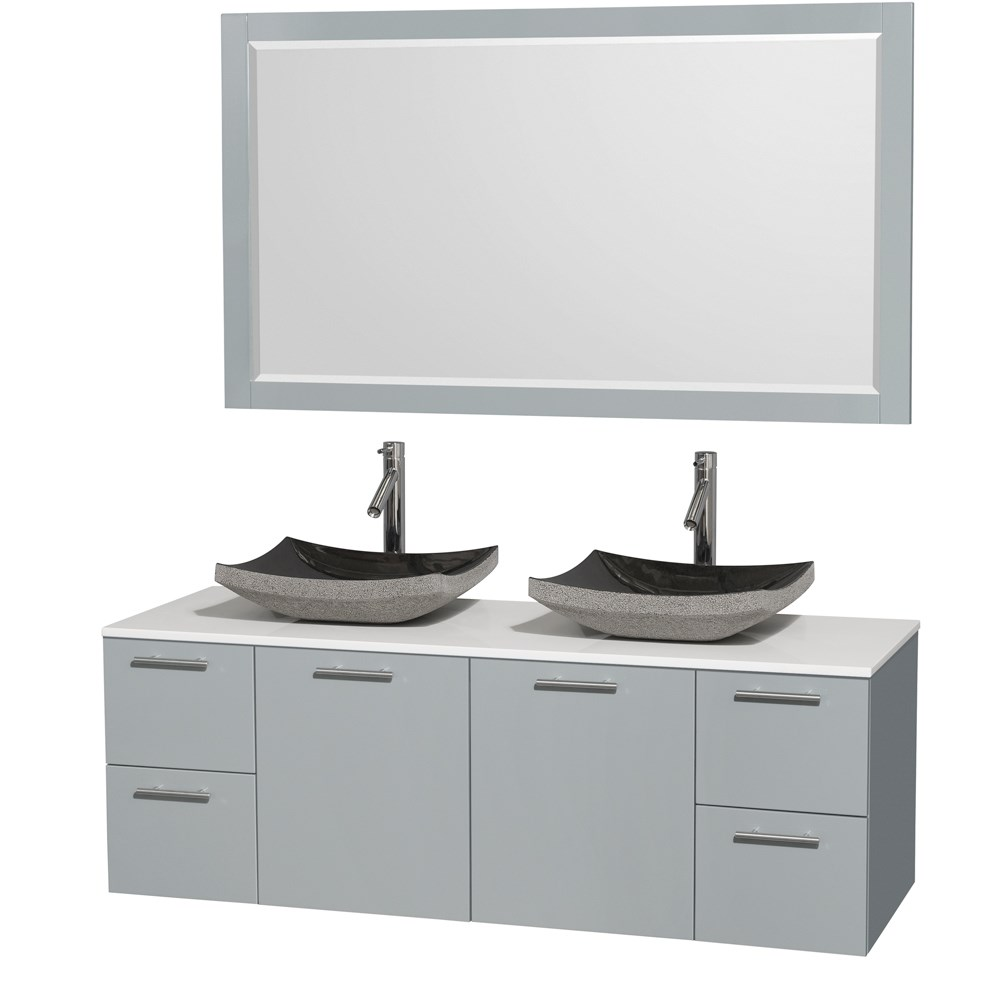 "Amare 60"" Wall-Mounted Double Bathroom Vanity Set with Vessel Sinks by Wyndham Collection - Dove Graynohtin Sale $1399.00 SKU: WC-R4100-60-DVG-DBL :"