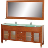 "Daytona 71"" Double Bathroom Vanity Set with Green Glass Countertop - Cherry w/ Drawers"