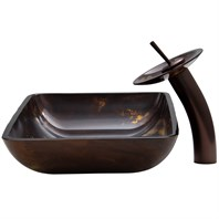 VIGO Rectangular Brown and Gold Fusion Glass Vessel Sink and Waterfall Faucet Set VGT033-RECTANGLE