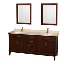 "Hatton 72"" Double Bathroom Vanity by Wyndham Collection - Dark Chestnut WC-1616-72-DBL-VAN-CDK"