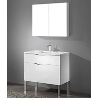 "Madeli Milano 36"" Bathroom Vanity for Quartzstone Top - Glossy White B200-36-021-GW-QUARTZ"