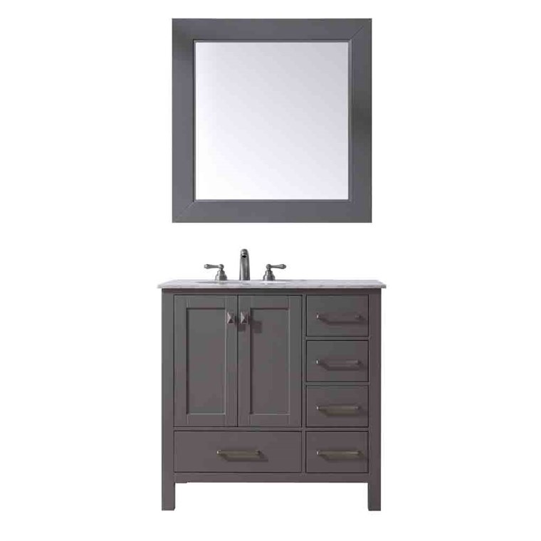 "Stufurhome 36"" Lissa Single Sink Bathroom Vanity - Gray GM-6412-36-GRAY"