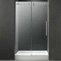 "VIGO 48-inch Frameless Shower Door 3/8"" Clear/Chrome Hardware with White Base - Center Drain VG6041CHCL48WM"