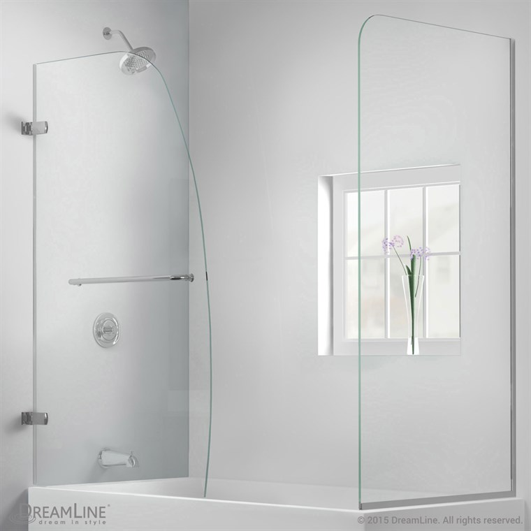 "Bath Authority DreamLine Aqua Uno Frameless Hinged Tub Door (56"" - 60"") with Return Panel SHDR-3534586-RT"