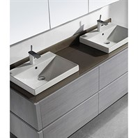 "Madeli Cube 72"" Double Wall-Mounted Bathroom Vanity for Glass Counter and Porcelain Basin - Ash Grey B500-72D-002-AG-GLASS"