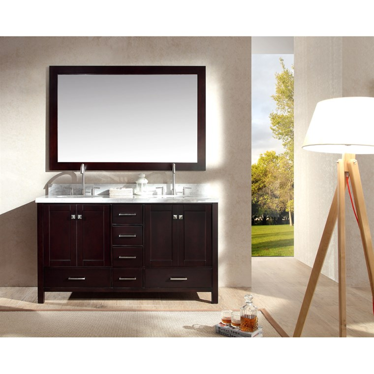 "Ariel Cambridge 61"" Double Sink Vanity Set with Carrera White Marble Countertop - Espresso A061D-ESP"