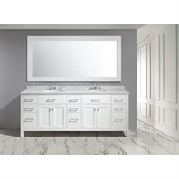 "Design Element London 84"" Double Sink Vanity Set - White DEC076-84-W"