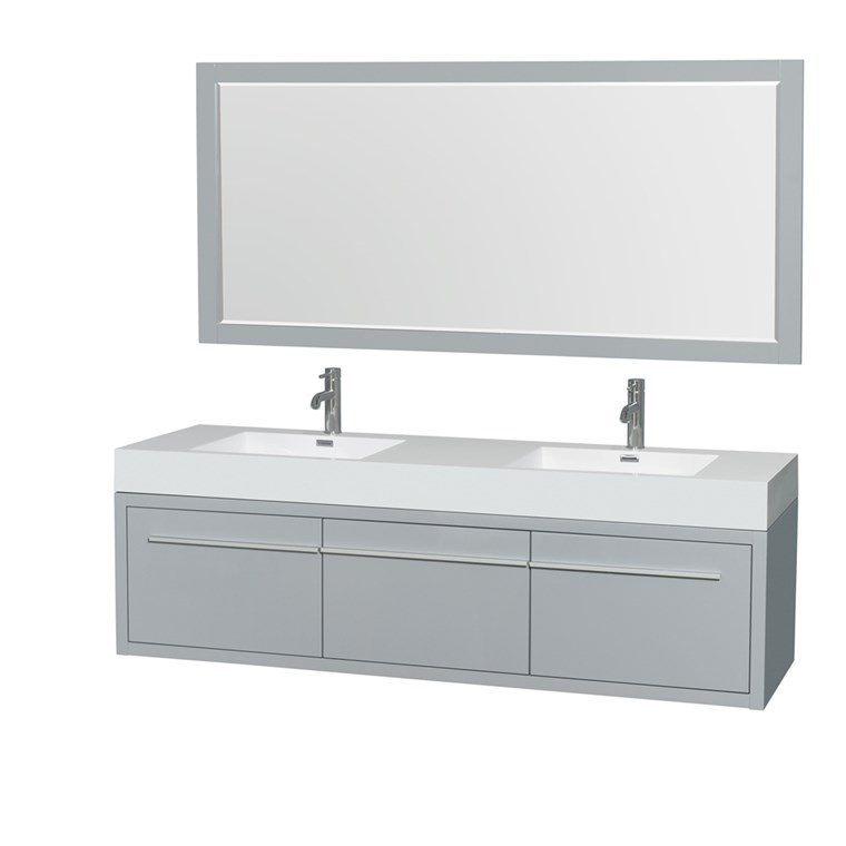 "Axa 72"" Wall-Mounted Double Bathroom Vanity Set With Integrated Sinks by Wyndham Collection - Dove Gray WC-R4300-72-VAN-DVG"