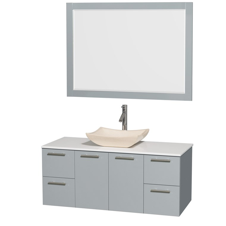 "Amare 48"" Wall-Mounted Bathroom Vanity Set with Vessel Sink by Wyndham Collection - Dove Gray WC-R4100-48-DVG"