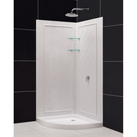 "Bath Authority DreamLine SlimLine Quarter Round Shower Base and QWALL-4 Shower Backwalls Kit (33"" by 33"") DL-6186-01"