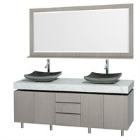 "Malibu 72"" Double Bathroom Vanity Set by Wyndham Collection - Gray Oak Finish with White Carrera Marble Counter WC-CG3000-72-GROAK-WHTCAR"