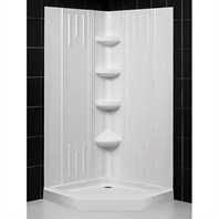 "Bath Authority DreamLine SlimLine Neo Shower Base and QWALL-2 Shower Backwalls Kit (42"" by 42"") DL-6141-01"