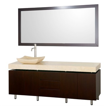 "Malibu 72"" Single Bathroom Vanity Set by Wyndham Collection, Espresso Finish with Ivory Marble Counter... by Wyndham Collection®"