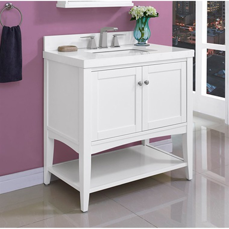 "Fairmont Designs Shaker Americana 36"" Vanity - Open Shelf for Quartz Top- Polar White 1512-VH36"