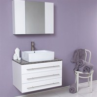 Fresca Modello White Modern Bathroom Vanity with Granite Countertop FVN6183WH-GR
