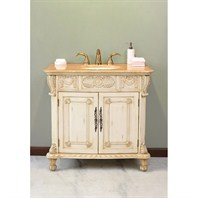 "Virtu USA Casablanca 38"" Single Sink Bathroom Vanity - Antique Ivory LS-1013"