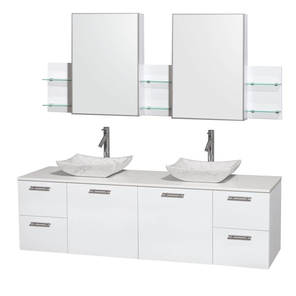 "Amare 72"" Wall-Mounted Double Bathroom Vanity Set with Vessel Sinks by Wyndham Collection - Glossy Whitenohtin Sale $1499.00 SKU: WC-R4100-72-WHT-DBL :"