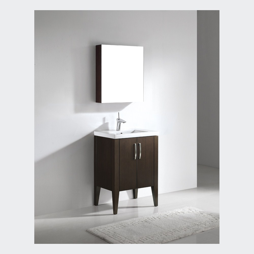 "Madeli Caserta 24"" Bathroom Vanity with Integrated Basin - Walnutnohtin"