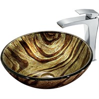 VIGO Zebra Glass Vessel Sink and Faucet Set in Chrome VGT178