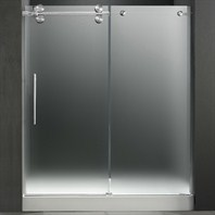 "VIGO 60-inch Frameless Shower Door 3/8"" Frosted/Chrome Hardware Left with White Base - Center Drain VG6041CHMT60LWL"