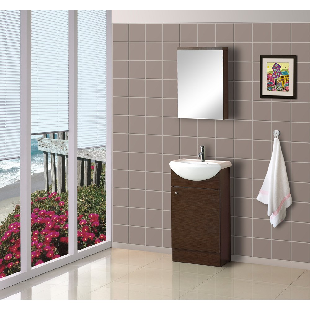 "Bath Authority DreamLine 18"" Floor Standing Modern Bathroom Vanity with Counter and Medicine Cabinet - Wenge"