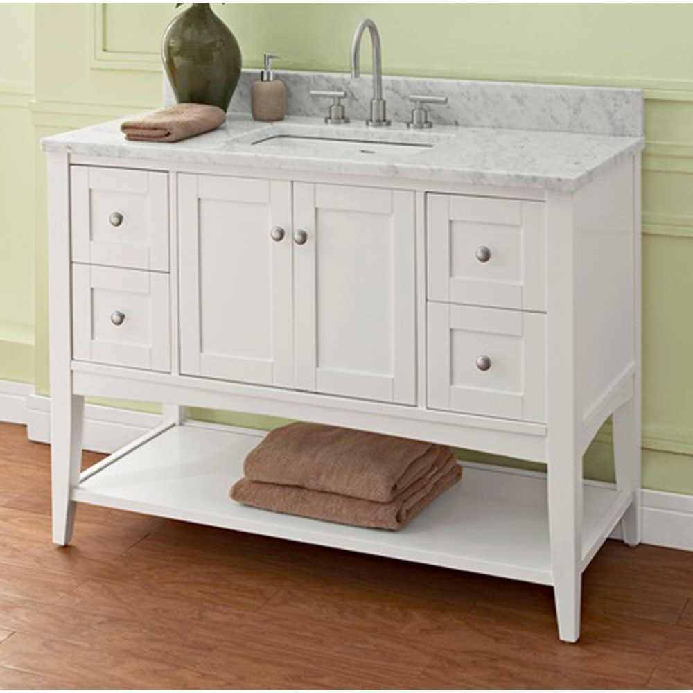 "Fairmont Designs Shaker Americana 48"" Vanity - Open Shelf for 1-1/4"" Thick Top - Polar Whitenohtin Sale $1415.00 SKU: 1512-VH48-- :"