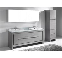 "Madeli Vicenza 72"" Double Bathroom Vanity for Glass Counter and Porcelain Basins - Ash Grey B999-72D-001-AG-GLASS"