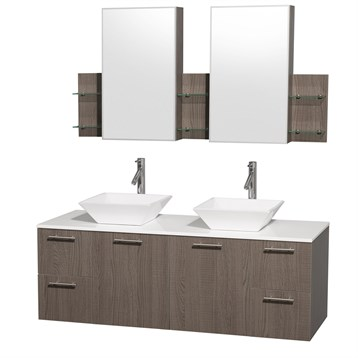 """Amare 60"""" Wall-Mounted Double Bathroom Vanity Set with Vessel Sinks by Wyndham Collection, Gray Oak... by Wyndham Collection®"""