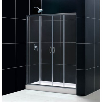 "Bath Authority DreamLine Visions Frameless Sliding Shower Door and SlimLine Single Threshold Shower Base, 32"" by... by Bath Authority DreamLine"
